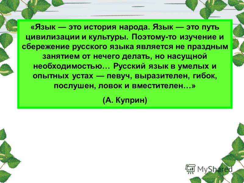 «Язык это история народа. Язык это путь цивилизации и культуры. Поэтому-то изучение и сбережение русского языка является не праздным занятием от нечего делать, но насущной необходимостью… Русский язык в умелых и опытных устах певуч, выразителен, гибо