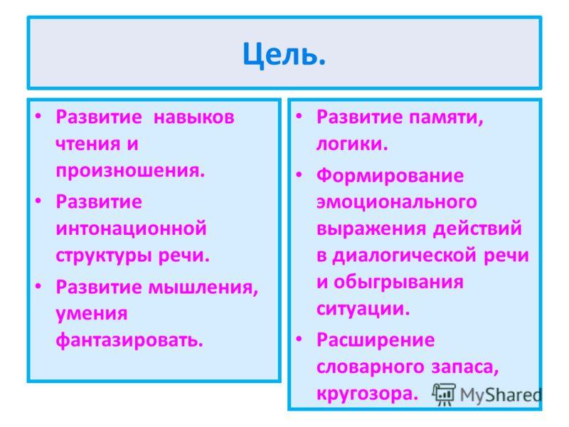 Цель. Развитие навыков чтения и произношения. Развитие интонационной структуры речи. Развитие мышления, умения фантазировать. Развитие памяти, логики. Формирование эмоционального выражения действий в диалогической речи и обыгрывания ситуации. Расшире