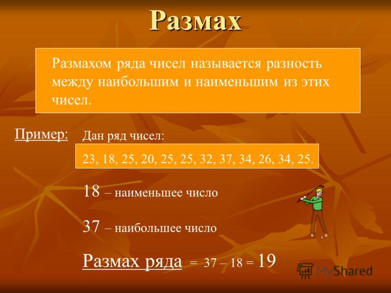Размах Размахом ряда чисел называется разность между наибольшим и наименьшим из этих чисел. Пример: Дан ряд чисел: 23, 18, 25, 20, 25, 25, 32, 37, 34, 26, 34, 25. 18 – наименьшее число 37 – наибольшее число Размах ряда = 37 – 18 = 19