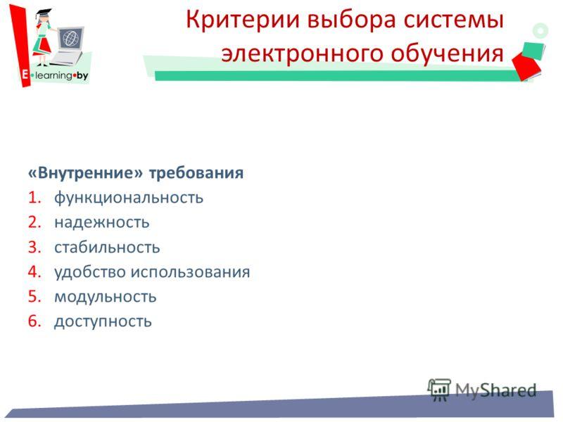 «Внутренние» требования 1.функциональность 2.надежность 3.стабильность 4.удобство использования 5.модульность 6.доступность Критерии выбора системы электронного обучения