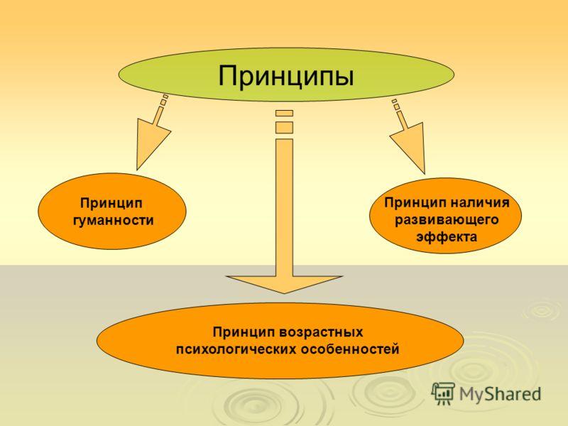 Принцип гуманности Принцип наличия развивающего эффекта Принцип возрастных психологических особенностей Принципы