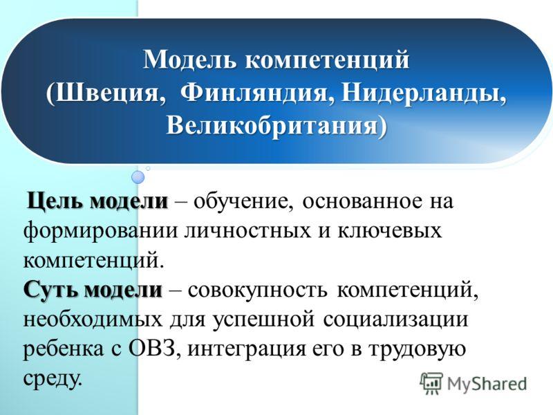 Модель компетенций (Швеция, Финляндия, Нидерланды, Великобритания) Модель компетенций (Швеция, Финляндия, Нидерланды, Великобритания) Цель модели Суть модели Цель модели – обучение, основанное на формировании личностных и ключевых компетенций. Суть м