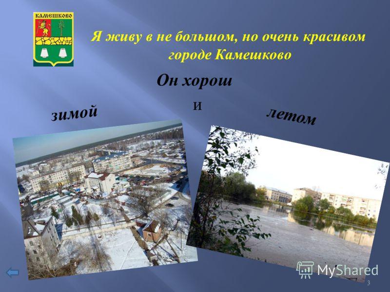 Я живу в не большом, но очень красивом городе Камешково Он хорош зимой и летом 3