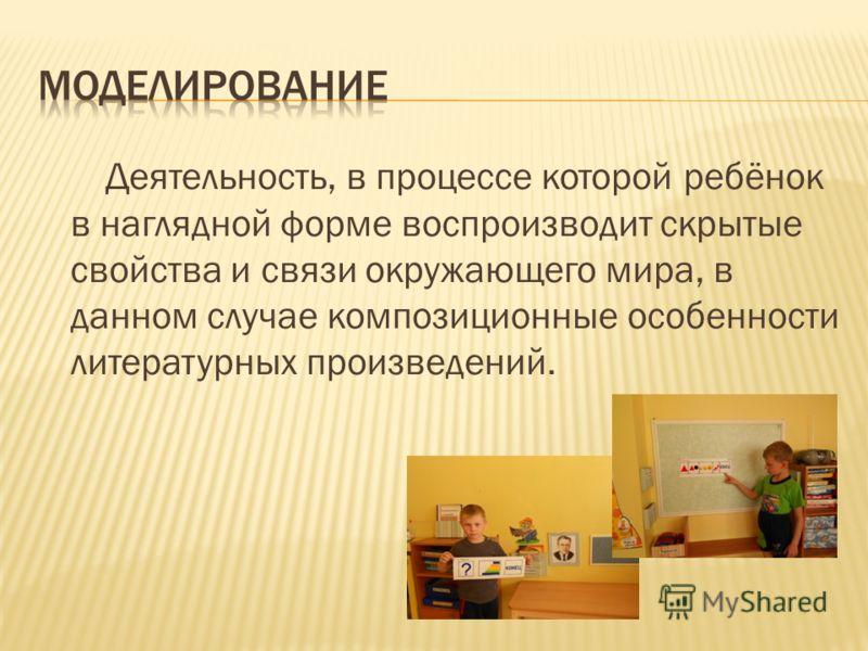 Деятельность, в процессе которой ребёнок в наглядной форме воспроизводит скрытые свойства и связи окружающего мира, в данном случае композиционные особенности литературных произведений.