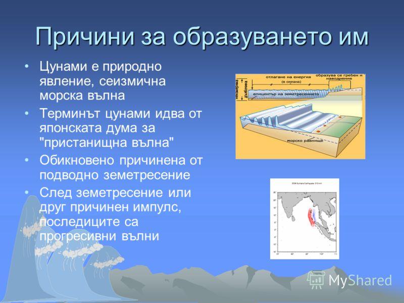 Цунами е природно явление, сеизмична морска вълна Терминът цунами идва от японската дума за