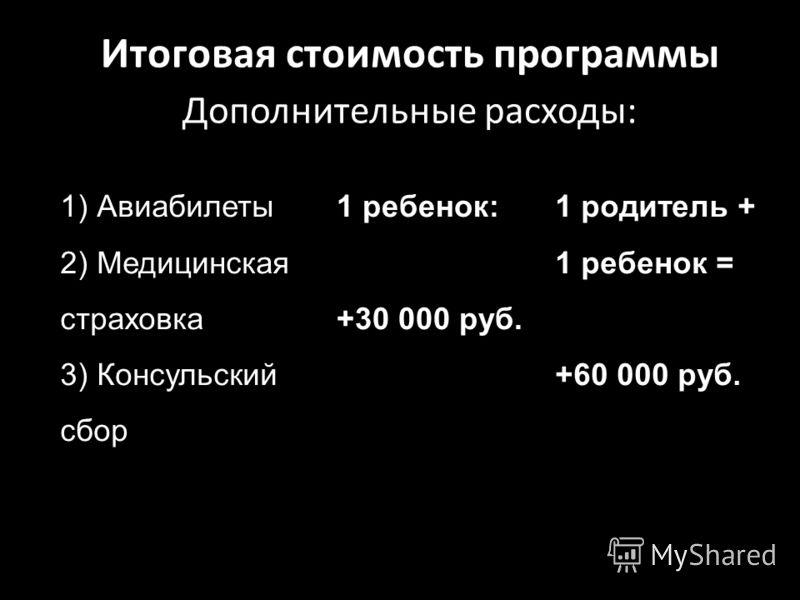 Итоговая стоимость программы Дополнительные расходы: 1) Авиабилеты 2) Медицинская страховка 3) Консульский сбор 1 ребенок: +30 000 руб. 1 родитель + 1 ребенок = +60 000 руб.