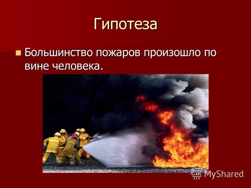 Гипотеза Большинство пожаров произошло по вине человека. Большинство пожаров произошло по вине человека.