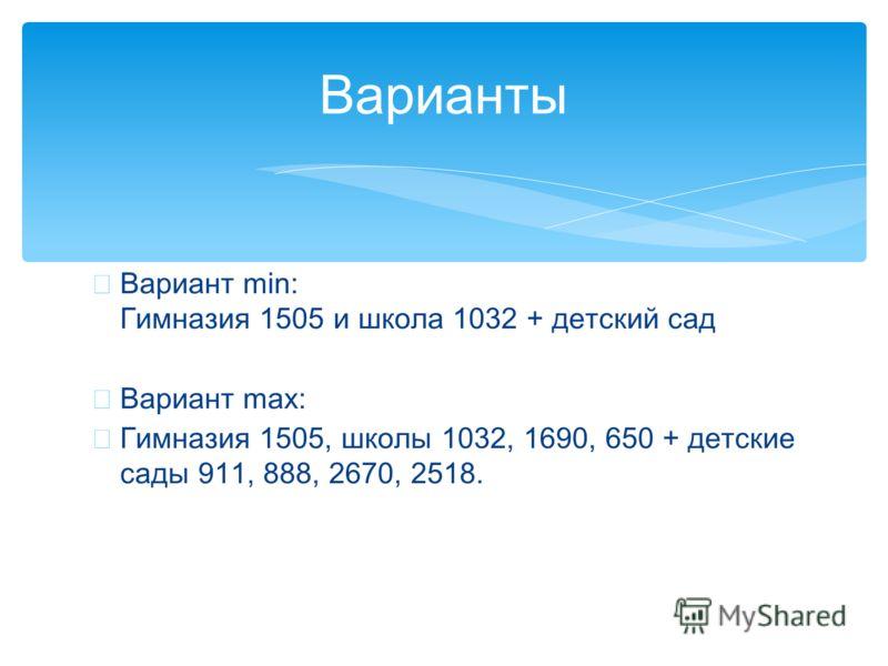 Вариант min: Гимназия 1505 и школа 1032 + детский сад Вариант max: Гимназия 1505, школы 1032, 1690, 650 + детские сады 911, 888, 2670, 2518. Варианты