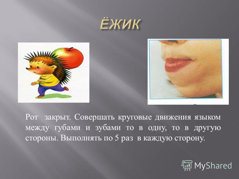 Рот закрыт. Совершать круговые движения языком между губами и зубами то в одну, то в другую стороны. Выполнять по 5 раз в каждую сторону.