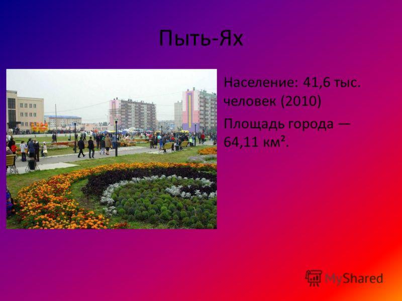 Пыть-Ях Население: 41,6 тыс. человек (2010) Площадь города 64,11 км².
