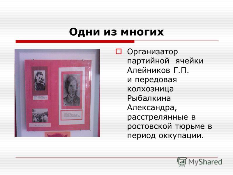Одни из многих Организатор партийной ячейки Алейников Г.П. и передовая колхозница Рыбалкина Александра, расстрелянные в ростовской тюрьме в период оккупации.