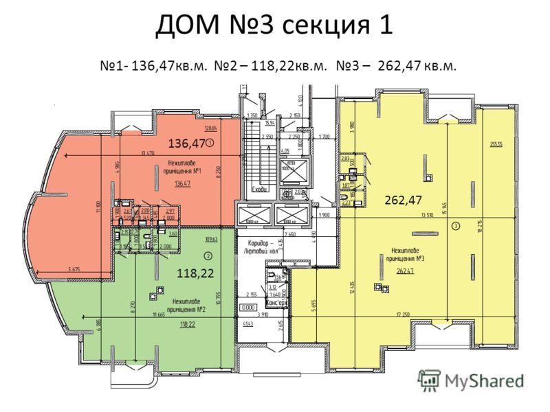 ДОМ 3 секция 1 1- 136,47кв.м. 2 – 118,22кв.м. 3 – 262,47 кв.м. 262,47 118,22 136,47
