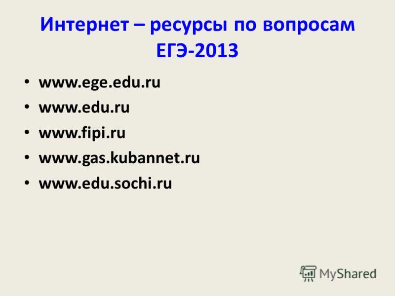 Интернет – ресурсы по вопросам ЕГЭ-2013 www.ege.edu.ru www.edu.ru www.fipi.ru www.gas.kubannet.ru www.edu.sochi.ru