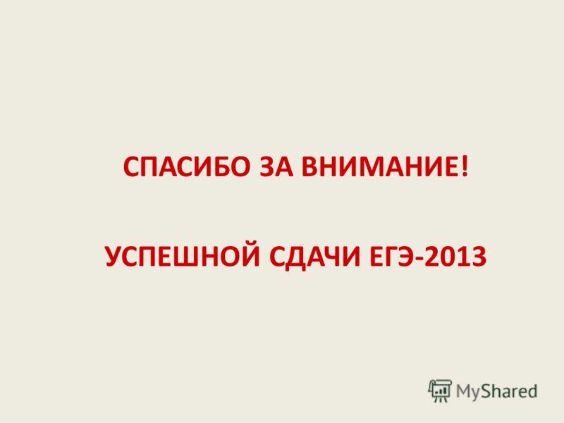 СПАСИБО ЗА ВНИМАНИЕ! УСПЕШНОЙ СДАЧИ ЕГЭ-2013