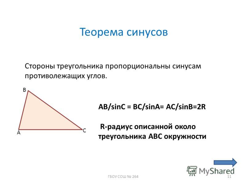 Теорема синусов Стороны треугольника пропорциональны синусам противолежащих углов. A B C AB/sinC = BC/sinA= AC/sinB=2R R-радиус описанной около треугольника АВС окружности 11ГБОУ СОШ 264