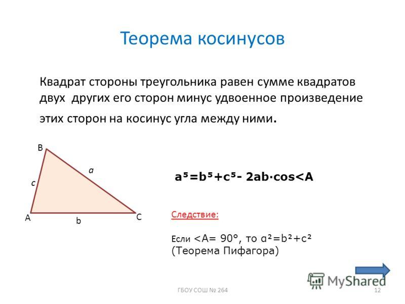 Теорема косинусов Квадрат стороны треугольника равен сумме квадратов двух других его сторон минус удвоенное произведение этих сторон на косинус угла между ними. A B C c a b a=b+c- 2abcos