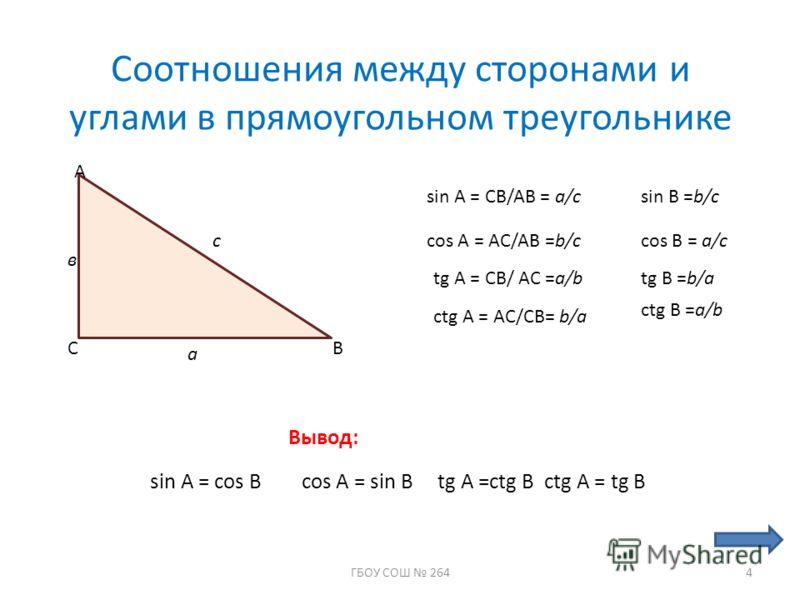 Cоотношения между сторонами и углами в прямоугольном треугольнике С А В с а в sin A = CB/AB = a/c cos A = AC/AB =b/c tg A = CB/ AC =a/b ctg A = AC/CB= b/a sin B =b/c cos B = a/c tg B =b/a ctg B =a/b Вывод: sin A = cos B cos A = sin B tg A =ctg B ctg