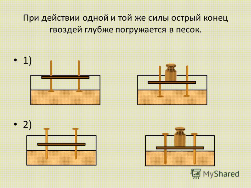 При действии одной и той же силы острый конец гвоздей глубже погружается в песок. 1) 2)
