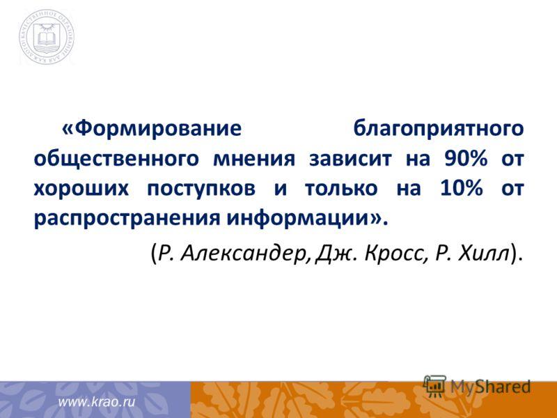 «Формирование благоприятного общественного мнения зависит на 90% от хороших поступков и только на 10% от распространения информации». (Р. Александер, Дж. Кросс, Р. Хилл).