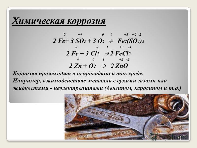 Химическая коррозия 0 +4 0 t +3 +6 -2 2 Fe+ 3 SO 2 + 3 O 2 Fe 2 (SO 4 ) 3 0 0 t +3 -1 2 Fe + 3 Cl 2 2 FeCl 3 0 0 t +2 -2 2 Zn + O 2 2 ZnO Коррозия происходит в непроводящей ток среде. Например, взаимодействие металла с сухими газами или жидкостями -