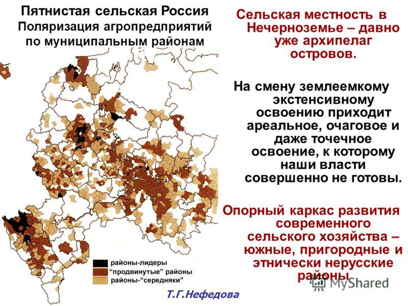 Пятнистая сельская Россия Поляризация агропредприятий по муниципальным районам Сельская местность в Нечерноземье – давно уже архипелаг островов. На смену землеемкому экстенсивному освоению приходит ареальное, очаговое и даже точечное освоение, к кото
