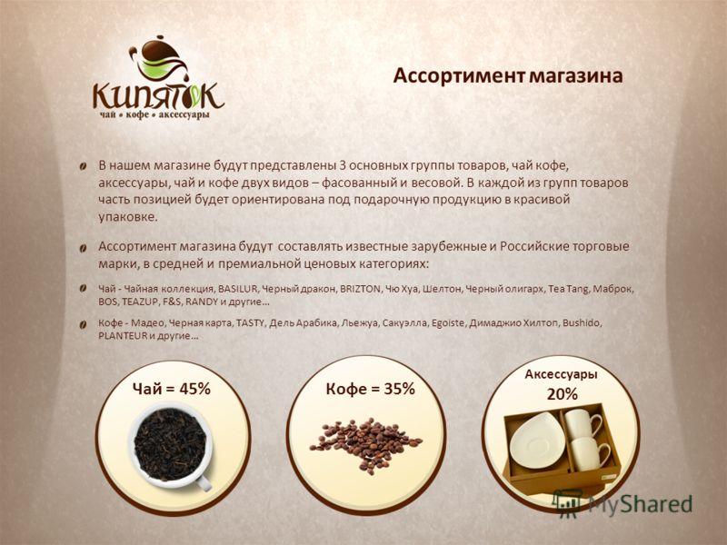 Ассортимент магазина В нашем магазине будут представлены 3 основных группы товаров, чай кофе, аксессуары, чай и кофе двух видов – фасованный и весовой. В каждой из групп товаров часть позицией будет ориентирована под подарочную продукцию в красивой у