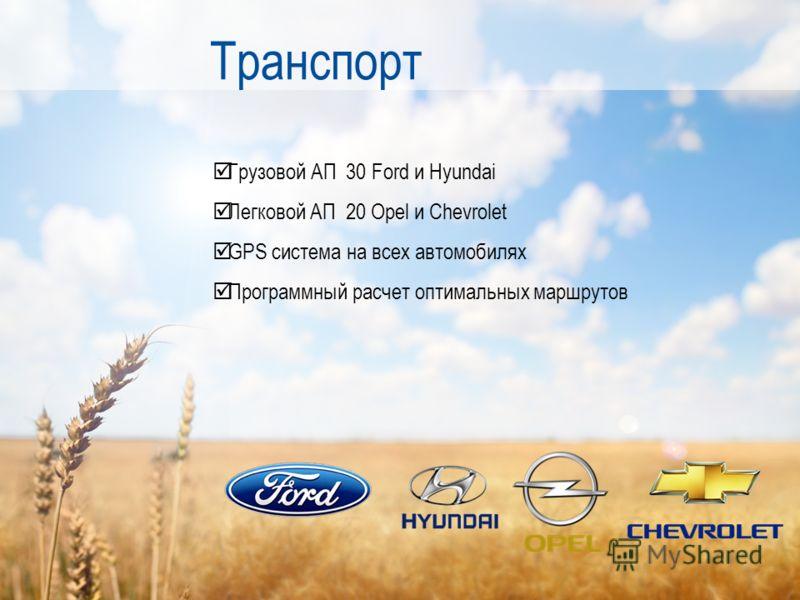 Грузовой АП 30 Ford и Hyundai Легковой АП 20 Opel и Chevrolet GPS система на всех автомобилях Программный расчет оптимальных маршрутов Транспорт