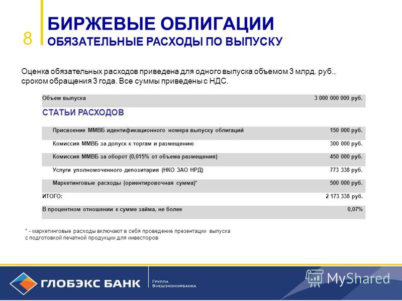 8 * - маркетинговые расходы включают в себя проведение презентации выпуска с подготовкой печатной продукции для инвесторов БИРЖЕВЫЕ ОБЛИГАЦИИ ОБЯЗАТЕЛЬНЫЕ РАСХОДЫ ПО ВЫПУСКУ Оценка обязательных расходов приведена для одного выпуска объемом 3 млрд. ру