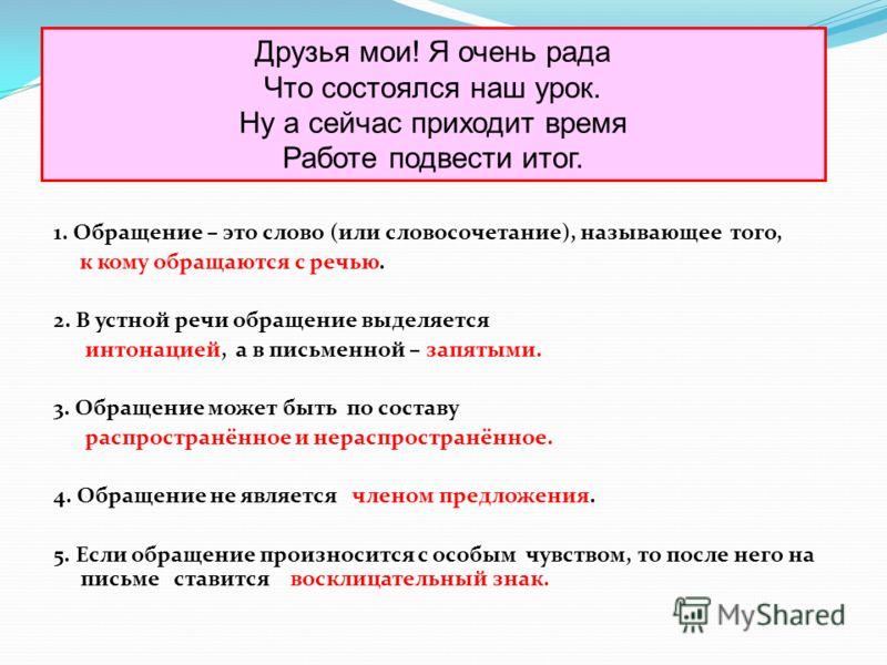 1. Обращение – это слово (или словосочетание), называющее того, к кому обращаются с речью. 2. В устной речи обращение выделяется интонацией, а в письменной – запятыми. 3. Обращение может быть по составу распространённое и нераспространённое. 4. Обращ
