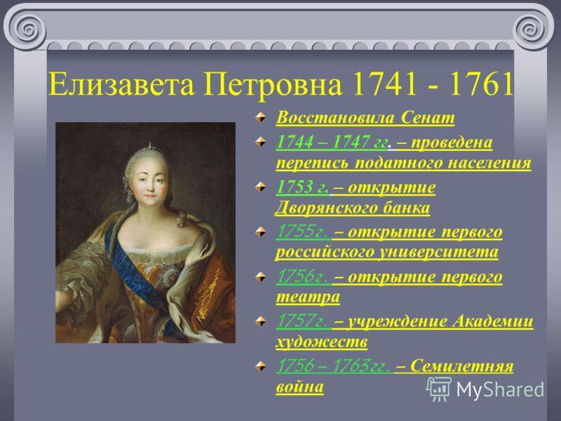 Елизавета Петровна 1741 - 1761 Восстановила Сенат 1744 – 1747 гг. – проведена перепись податного населения 1753 г. – открытие Дворянского банка 1755 г. – открытие первого российского университета 1756 г. – открытие первого театра 1757 г. – учреждение