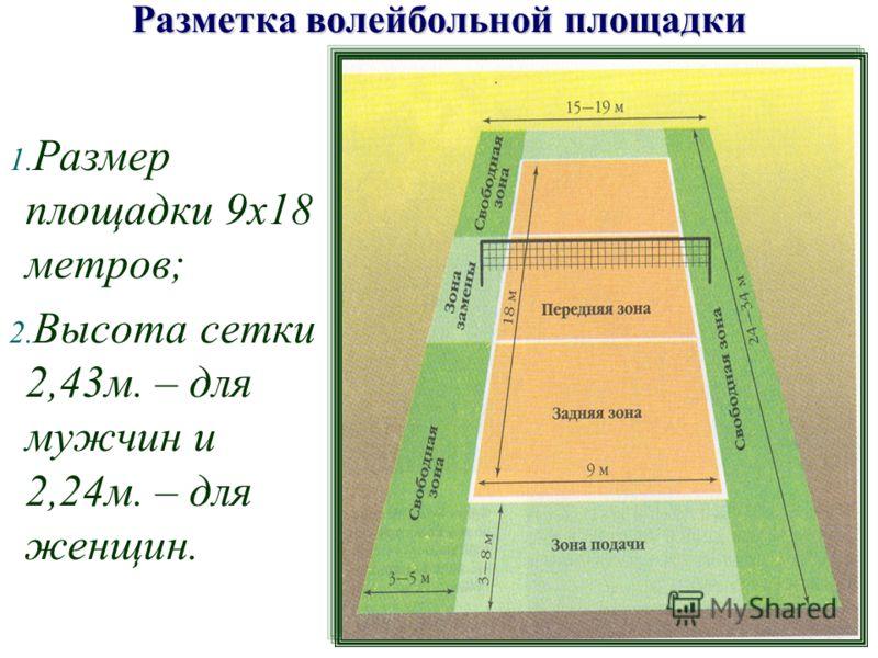 1. Размер площадки 9х18 метров; 2. Высота сетки 2,43м. – для мужчин и 2,24м. – для женщин. Разметка волейбольной площадки