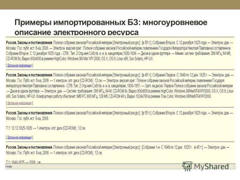 Примеры импортированных БЗ: многоуровневое описание электронного ресурса