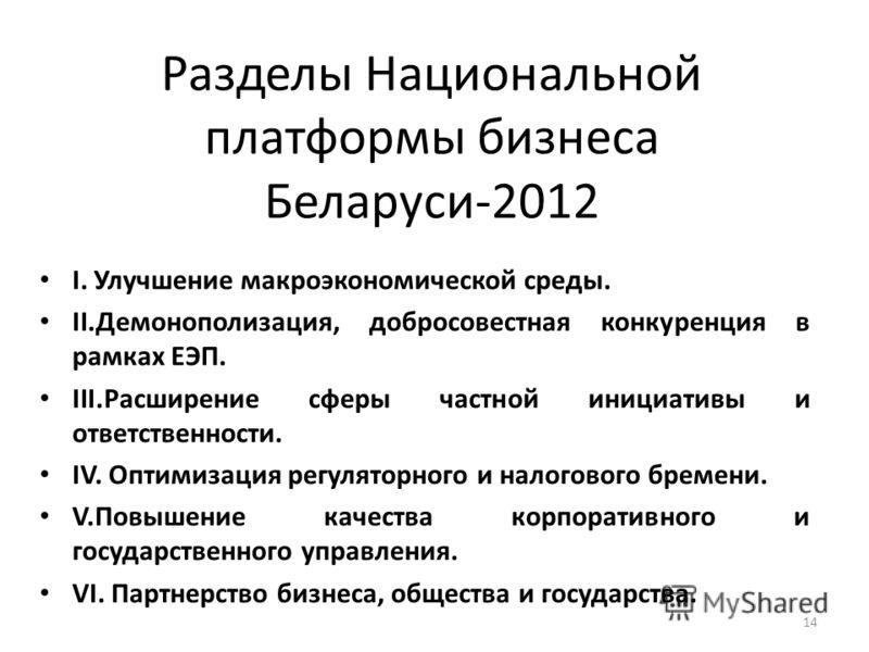 С 2006 года деловое сообщество разрабатывает и представляет правительству, гражданскому обществу и международным экономическим организациям системный документ – «Национальную платформу бизнеса Беларуси». 13