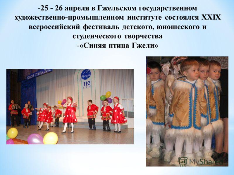 -25 - 26 апреля в Гжельском государственном художественно-промышленном институте состоялся ХХIХ всероссийский фестиваль детского, юношеского и студенческого творчества -«Синяя птица Гжели»