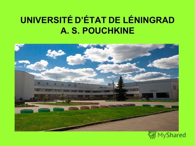 UNIVERSITÉ DÉTAT DE LÉNINGRAD A. S. POUCHKINE