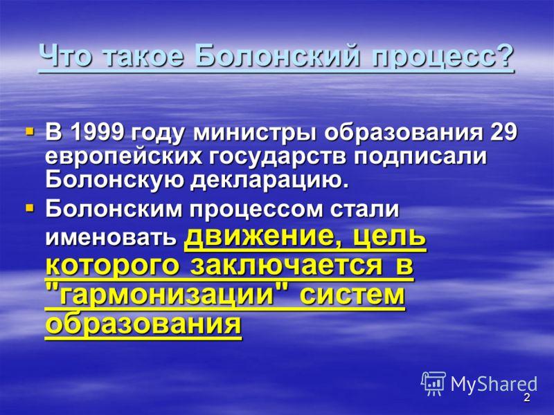 2 Что такое Болонский процесс? В 1999 году министры образования 29 европейских государств подписали Болонскую декларацию. В 1999 году министры образования 29 европейских государств подписали Болонскую декларацию. Болонским процессом стали именовать д