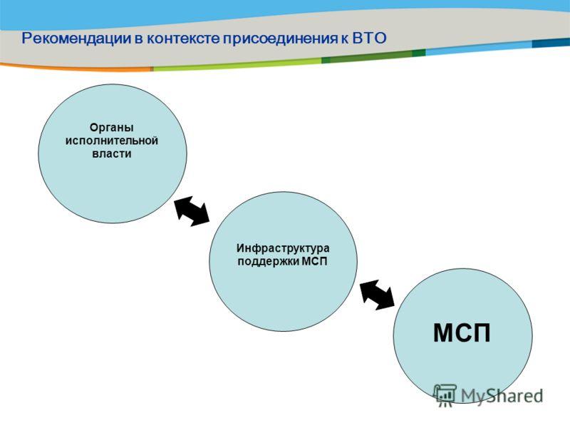 Органы исполнительной власти МСП Инфраструктура поддержки МСП Рекомендации в контексте присоединения к ВТО