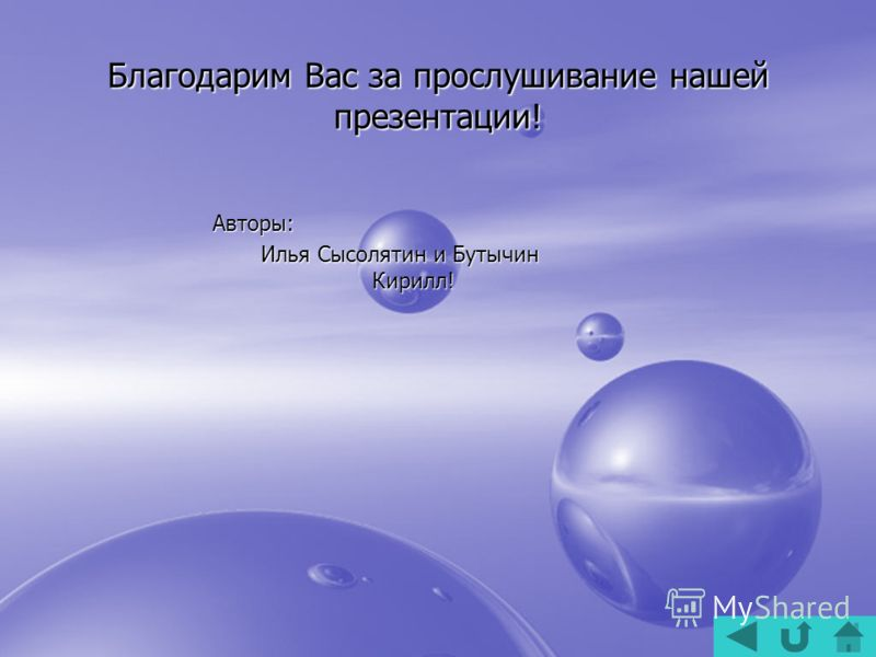 Благодарим Вас за прослушивание нашей презентации! Авторы: Илья Сысолятин и Бутычин Кирилл! Илья Сысолятин и Бутычин Кирилл!