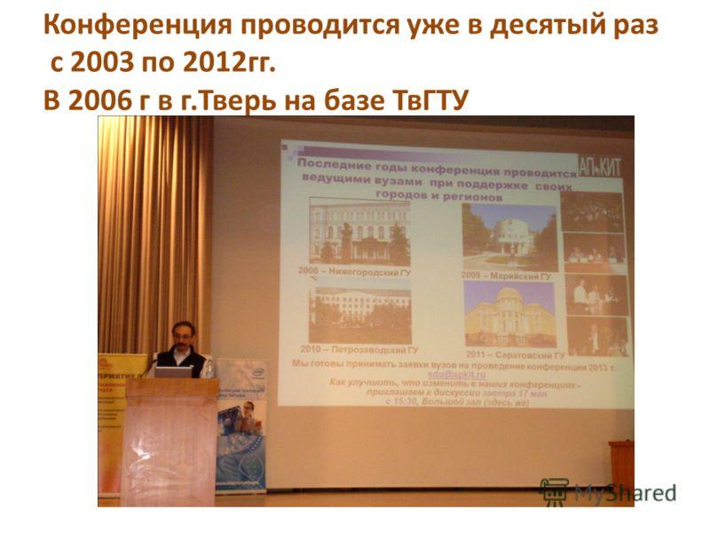 Конференция проводится уже в десятый раз с 2003 по 2012гг. В 2006 г в г.Тверь на базе ТвГТУ