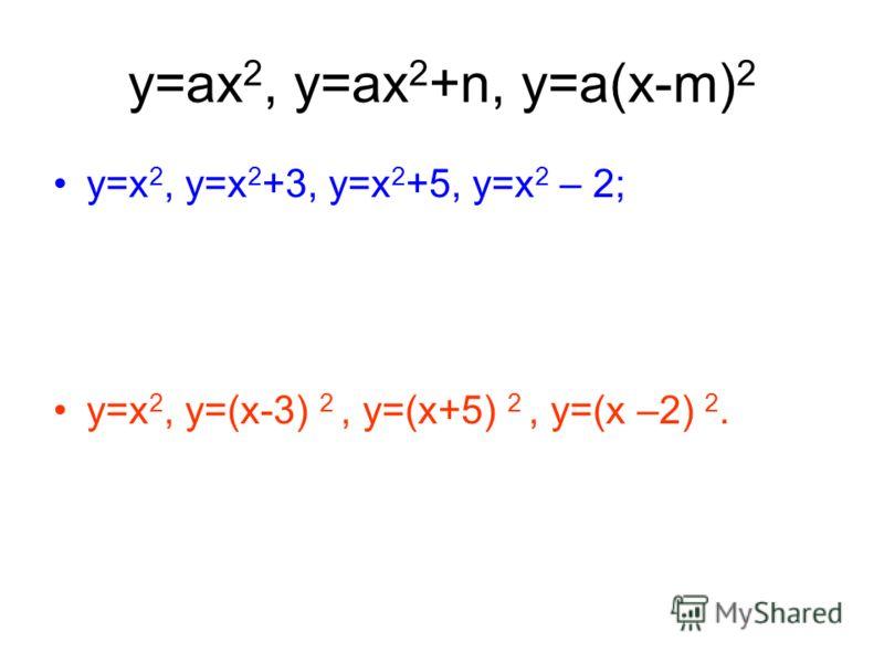 y=ax 2, y=ax 2 +n, у=a(x-m) 2 y=x 2, y=x 2 +3, y=x 2 +5, у=х 2 – 2; y=x 2, y=(x-3) 2, y=(x+5) 2, у=(х –2) 2.