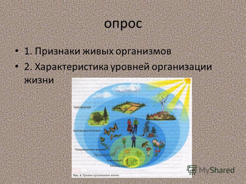 опрос 1. Признаки живых организмов 2. Характеристика уровней организации жизни