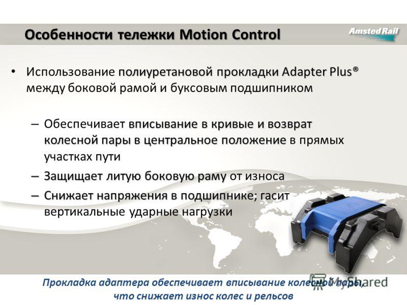 полиуретановой прокладки Adapter Plus® Использование полиуретановой прокладки Adapter Plus® между боковой рамой и буксовым подшипником вписывание в кривые и возврат колесной пары в центральное положение – Обеспечивает вписывание в кривые и возврат ко