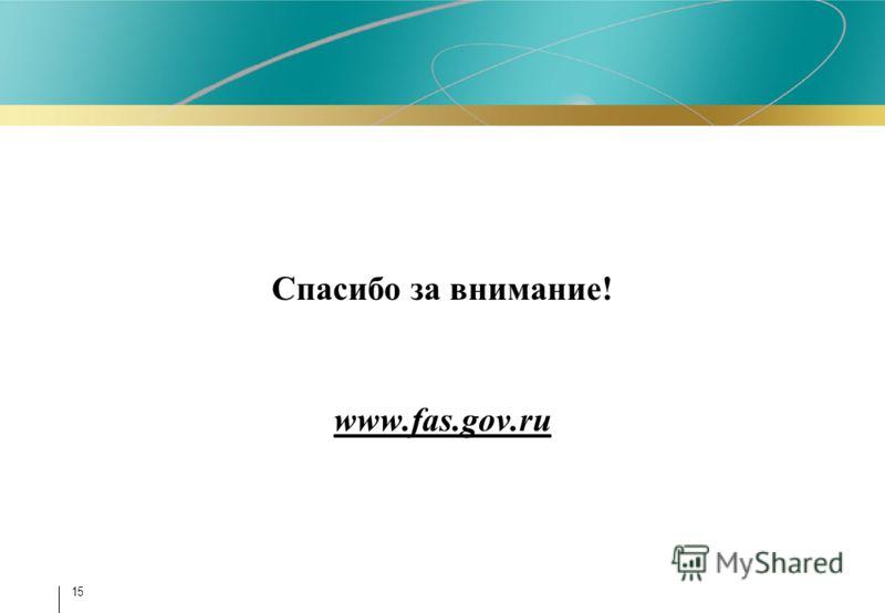 Спасибо за внимание! www.fas.gov.ru 15