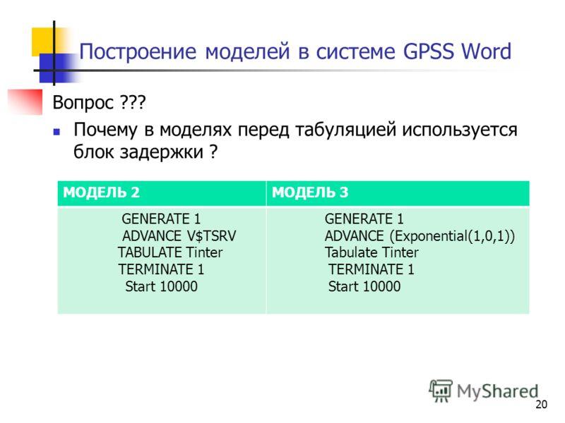 Построение моделей в системе GPSS Word Вопрос ??? Почему в моделях перед табуляцией используется блок задержки ? 20 МОДЕЛЬ 2МОДЕЛЬ 3 GENERATE 1 ADVANCE V$TSRV TABULATE Tinter TERMINATE 1 Start 10000 GENERATE 1 ADVANCE (Exponential(1,0,1)) Tabulate Ti
