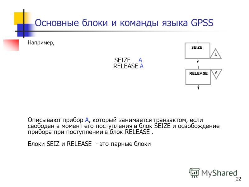 Основные блоки и команды языка GPSS 22 Например, SEIZE A RELEASE А Описывают прибор А, который занимается транзактом, если свободен в момент его поступления в блок SEIZE и освобождение прибора при поступлении в блок RELEASE. Блоки SEIZ и RELEASE - эт