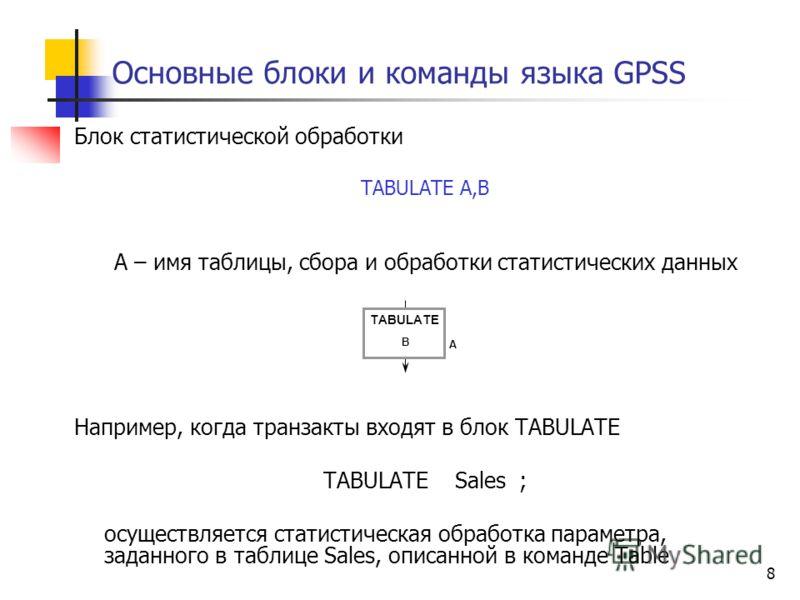 8 Основные блоки и команды языка GPSS Блок статистической обработки TABULATE A,B А – имя таблицы, сбора и обработки статистических данных Например, когда транзакты входят в блок TABULATE TABULATE Sales ; осуществляется статистическая обработка параме