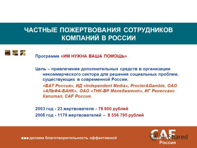 ЧАСТНЫЕ ПОЖЕРТВОВАНИЯ СОТРУДНИКОВ КОМПАНИЙ В РОССИИ Программа «ИМ НУЖНА ВАША ПОМОЩЬ» Цель – привлечение дополнительных средств в организации некоммерческого сектора для решения социальных проблем, существующих в современной России. «БAT Россия», ИД «