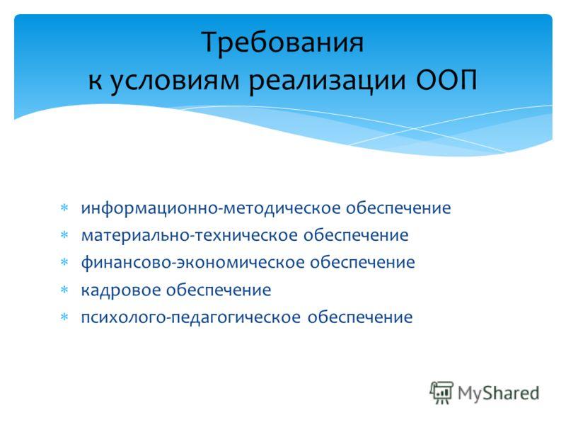 информационно-методическое обеспечение материально-техническое обеспечение финансово-экономическое обеспечение кадровое обеспечение психолого-педагогическое обеспечение Требования к условиям реализации ООП