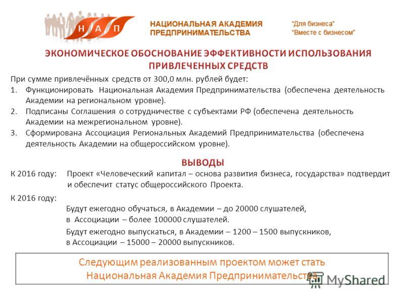 При сумме привлечённых средств от 300,0 млн. рублей будет: 1.Функционировать Национальная Академия Предпринимательства (обеспечена деятельность Академии на региональном уровне). 2.Подписаны Соглашения о сотрудничестве с субъектами РФ (обеспечена деят
