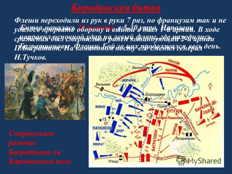 Бородинская битва Битва началась 26 августа в 5-30 утра. Наполеон направил основной удар на левый фланг, где находились Багратионовы Флеши. Бой за них продолжался весь день. Флеши переходили из рук в руки 7 раз, но французам так и не удалось прорвать